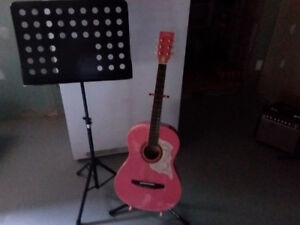 Guitare acoustique rose