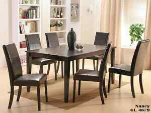 UNBEATABLE SALE 7 PCS SOLID WOOD DINING SET: TABLE WITH 6 CHAIRS