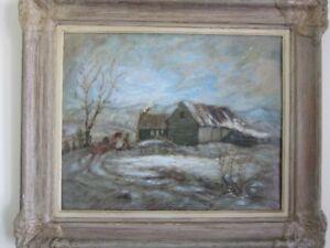 antiquité avril 1946 peinture huile / scène hivernale du québec