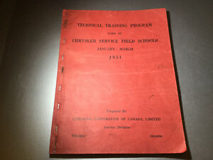 1951 Chrysler Field School Service Manual Plymouth Dodge DeSoto
