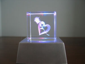 2 CRYSTAL CUBES W/CUT LASER DESIGN (HEARTS & FLOWERS) FOR SALE