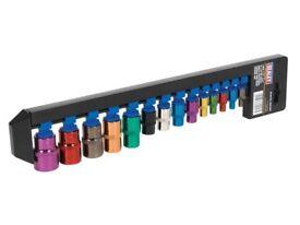 "NEW - Female TRX-Star 14pc socket set: 1/4"", 3/8"" & 1/2"" Sq Drive Multi-Coloured"