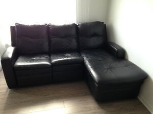 Black sofa/couch divan noir inclinable en cuir