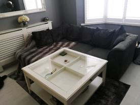 Grey cord corner sofa