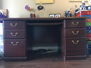 brown desk & credenza $300.00 for set
