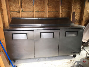 Commercial sandwich fridge. Three front doors, 0ne top acces
