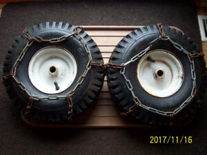 Snowblower tires on wheels + traction chains