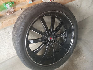 24 inch 5x150 red sport rims and tires