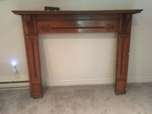 Antique Fireplace mantle and frame mirror.