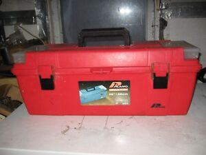 """RED GRAB """"N"""" GO LARGE PLANO TOOL BOX WITH TOP SHELF."""