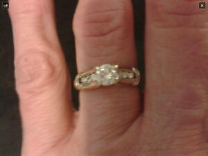 14k Gold & white gold diamond ring, with 3 small diamonds Kitchener / Waterloo Kitchener Area image 1