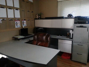 Grey U shaped desk