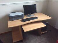 HP desktop with printer