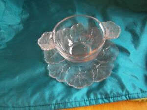 Lalique Honfleur Plate and Double Handled Bowl