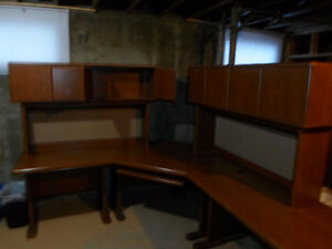 Desk with runout and hutches