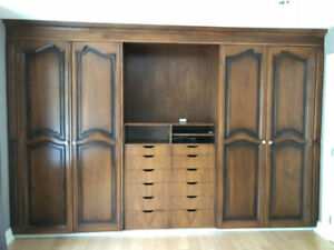 walnut wardrobe with 6 solid wood doors - refinish your way