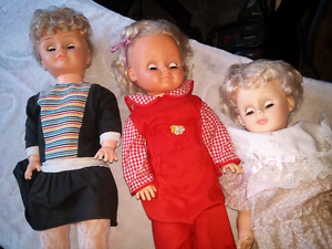 3 vintage antique dolls