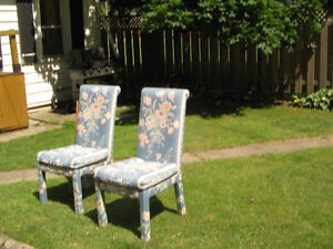 2 same UPHOLSTERED DINING ROOM CHAIRS 48 in HIGH BACK
