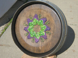 Carved on Oak Wine Barrel Top  - Wall Hanging Strathcona County Edmonton Area image 1