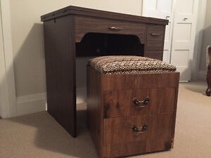 Sewing machine cabinet with bench