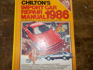 Chiltons !979 - 1986 Cars Imported to US & Canada