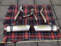 Gsxr 1000 k7 k8 twin arrow exhausts plus decat link pipe