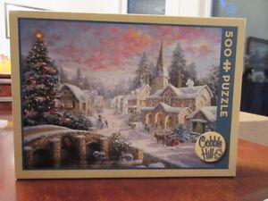 Cobble Hill 500 Piece Puzzle - Christmas Village  Very Pretty!