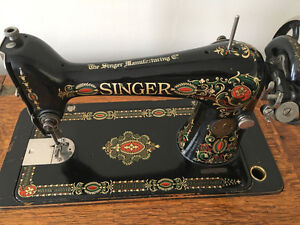 "Antique 1920's Singer ""Red Eye"" Sewing Machine Parlour Cabinet"