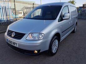 VW CADDY MAXI VAN 1.9TDI 2010/10REG SILVER 12 MONTH WARRANTY £4999 NO VAT