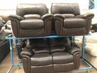 LAZ-BOY Reclining brown leather large two seater and two matching armchairs ex display model
