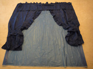Navy Blue Plastic Shower Curtain with Cotton Decorative Curtain Kitchener / Waterloo Kitchener Area image 2