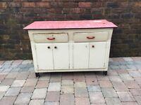 Old 1950s Formica Topped Vintage Kitchen Cabinet