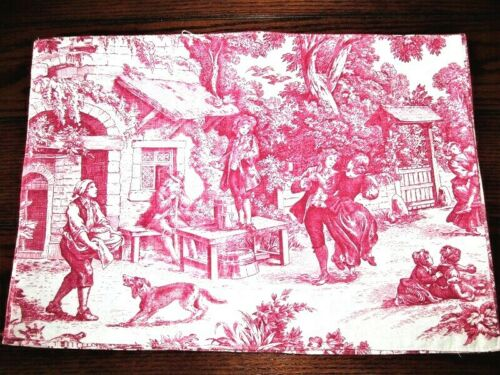 4 VTG 11X16 WAVERLY? RED MEDIVAL FRENCH FARM TOILE COTTON FABRIC PLACEMATS