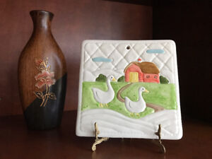 Geese on Farm Quilted look Tile 7 x 7 wall decor 1982 Japan