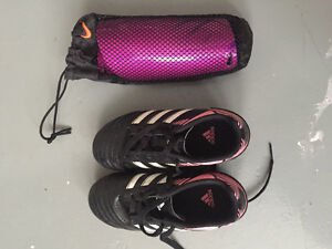 Girls soccer cleats and shinguards