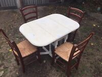 SHABBY CHIC DINING TABLE BARLEY TWIST WITH 4 dining chairs