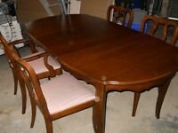 Dining Room Table, Chairs and Hutch (Solid Wood)