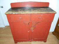 ANTIQUE Early 1800s primitive farmhouse summer kitchen sideboard