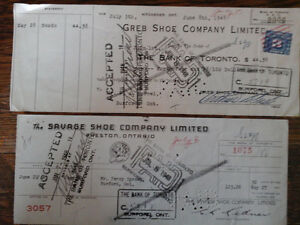 1948 cheques from Greb and Savage Shoe Companies Kitchener / Waterloo Kitchener Area image 1