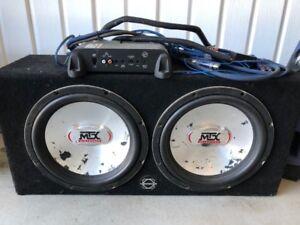 SUBWOOFER 2 x 12 pouces et ampli MTX TC 3001 300 Watts