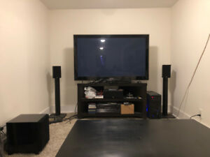 Misc furniture: coffee table, entertainment unit, desk, chairs