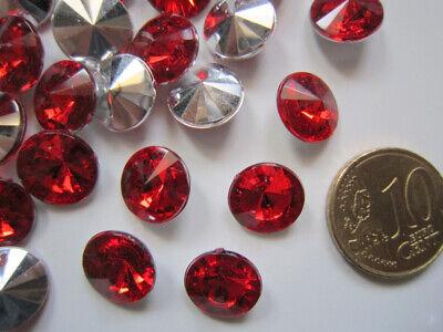 Cristal facetado diamante 10,8 mm rojo X 25 UNIDADES acrílico para pegar