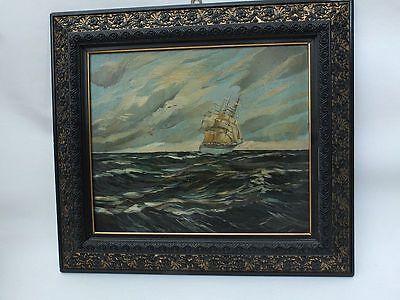 Marinemaler des 19./20. Jh Dreimast-Segelschiff auf hoher See C. Becker
