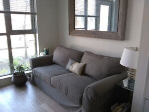 Potterybarn slip covered sofa - 4 years old- great condition