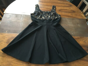 Black mesh cutout lace A-line dress size 9