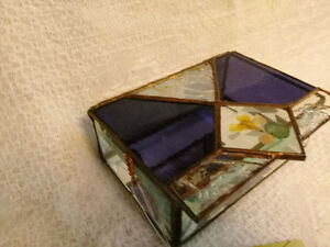 Handmade Stained Glass Jewelry Box - Clear and Amethyst Glass London Ontario image 5