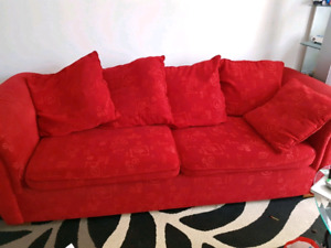 Red used sofa
