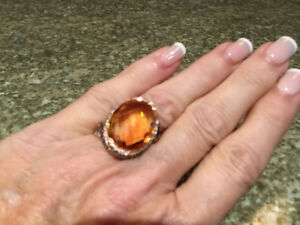 14  ct Citrine Ring - with 1.55 ct of Diamonds - Reduced To SELL