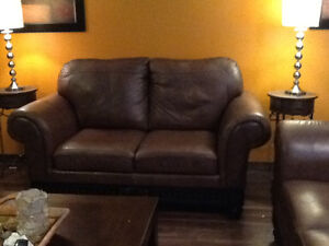 Just reduced by $500.00 Stunning 3 piece leather couch set. Peterborough Peterborough Area image 2