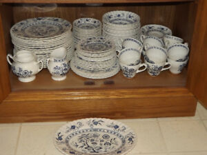 A double set of Blue Nordic English Ironstone Dishes